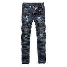 1a3378a0876 LENSTID Fashion Designer Jeans hombres Swag Hip Hop Biker Jeans Mens Flaco  Slim Fit Plisado Pantalones