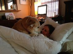 A long time friend, Wendy, getting healing and caring from her dog. That should do the trick!
