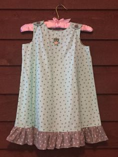 Light Blue Polka Dot Owl Girls Dress by SimplyStitchedbyMKM