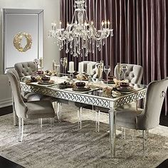 Most Noticeable Townhome Model Dining Room Hang up a sizable mirror in lieu of a statement art piece to reflect light and the inside of the room back on itself, which makes it seem larger. Country Dining Rooms, Luxury Dining Room, Dining Room Design, Dining Room Table, Dining Chairs, Dining Set, World Of Interiors, Plywood Furniture, Monochromatic Living Room