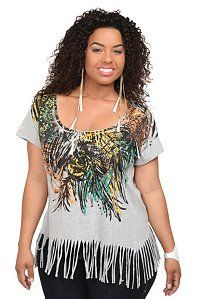 Heather Grey Floral And Feather Fringe Tee | Tops