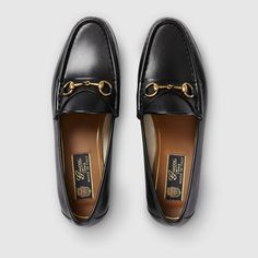 Gucci, 1953 horsebit loafer in leather Grey Loafers, Loafers Outfit, Leather Loafers, Loafer Shoes, Stilettos, Pumps, Loafers For Women, Loafers Men, Gucci Loafers Women