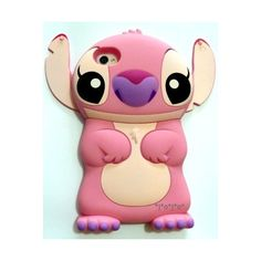 Pink Disney 3d Stitch Movable Ear Flip Hard Case Cover For Iphone 4/4s... ❤ liked on Polyvore