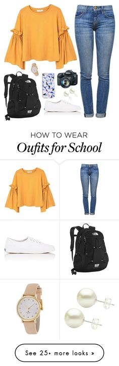 """""""Too bad there's school tomorrow"""" by classygrace on Polyvore featuring MANGO, Current/Elliott, The North Face, Keds, Kate Spade and Eos"""