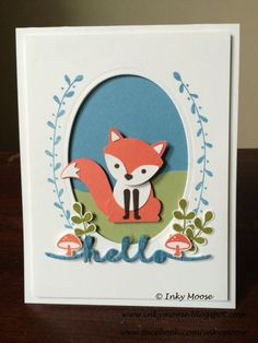 Hello Card made using the Fox Builder Punch, Foxy Friend Stamp Set