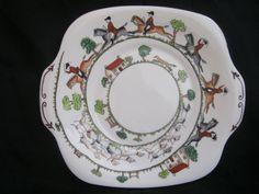 Crown Staffordshire Hunting Scene Cake Plate 12748 Vintage England Dinnerware #Wedgwood