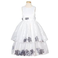 Little Girl's Black Petal Flower Girl Dresses