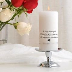 More - Personalized Memorial Candle Set - Silver Stand. Personalized Memorial Candle Set - Silver StandInclude the memory of a loved in your wedding celebration with this extraordinary wedding memorial Personalized Candles, Custom Candles, Personalized Wedding, Memory Candle Wedding, Wedding Unity Candles, Floating Candle Centerpieces, Hanging Candles, Flower Centerpieces, Candles