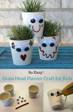 This kids' craft idea is super easy and fun to make! This craft project from @doodlecraft doubles as a learning tool, since kids learn to grow and care for their own planters of grass. #kidscraft