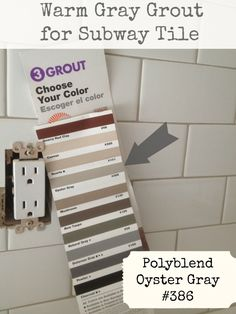 "Warm Gray Grout for Subway Tile: Polyblend ""Oyster Gray"" (Both the tile and the grout came from Daltile. The color of the tile is Yeah no dark grout! White Subway Tiles, Subway Tile Kitchen, Kitchen Backsplash, Backsplash Ideas, White Tiles Grey Grout, Tile Ideas, Slate Tiles, Black Grout, Rustic Backsplash"