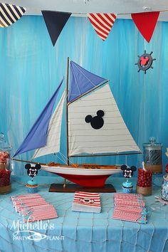 Nautical Mickey Mouse Birthday Party by Michelle's Party Plan-It. Nautical and Disney elements merge to create a fun birthday party! Birthday Party Design, 3rd Birthday Parties, Boy Birthday, Birthday Ideas, Sailor Birthday, Summer Birthday, Themed Parties, Mickey Party, Mickey Mouse Birthday