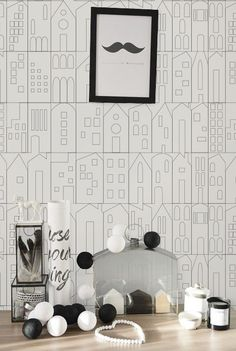 Self adhesive wallpaper peel and stick   House pattern  от Betapet