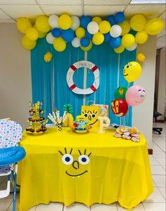 Spongebob Birthday Party, Birthday Party At Home, 6th Birthday Parties, 1st Boy Birthday, Birthday Party Decorations, Birthday Ideas, Bob Sponge, First Birthdays, Industrial Kids Decor