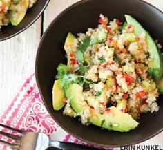 quinoa, red pepper + cucumber salad with avocado + lime
