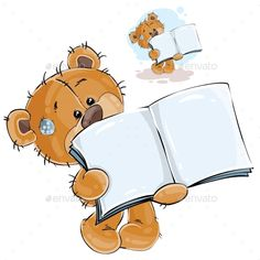 Brown Teddy Bear Showing Book by vectorpocket Vector illustration of a brown teddy bear showing a page of an open book, a notebook. Print, template, design element, can be used Tatty Teddy, Buy Teddy Bear, Brown Teddy Bear, Bear Clipart, Bear Vector, Cute Cartoon Pictures, Cute Pictures, Drawing For Kids, Art For Kids