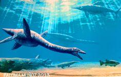 Ilustraciones de los dinosaurios del Jurásico. Illustrations of Jurassic dinosaurs.