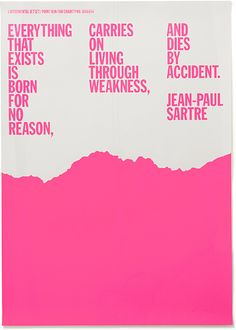 Jean-Paul Sartre poster by Experimental Jet Set Graphic Design Studios, Graphic Design Posters, Graphic Design Typography, Graphic Design Inspiration, Creative Inspiration, Editorial Layout, Editorial Design, Magazin Design, Plakat Design