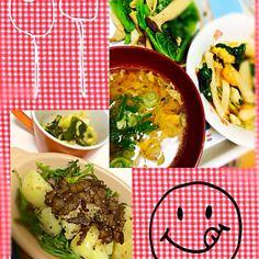 お野菜ー - 6件のもぐもぐ - 左:ジャガイモと春菊のベーコンサラダ、キャベツナムル★ 右:鯖の味噌汁、エリンギとグリーンリーフの炒め物、中華風サラダ by akarizumu