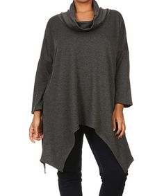 Look what I found on #zulily! Gray Sidetail Cowl Neck Sweater Tunic - Plus…