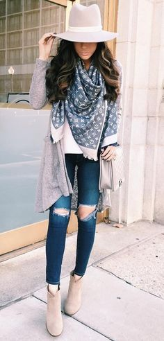 #fall #style Cream Cardigan // Cream Hat // Printed Scarf // Destroyed Jeans // Suede Ankle Boots