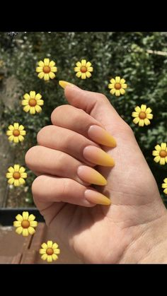 Shared by Patricia Carrera. Find images and videos on We Heart It the app to g Shared by Patricia Carrera. Find images and videos on We Heart It the app to g nails ideas Yellow Nails Design, Yellow Nail Art, Pastel Yellow, Yellow Flowers, Almond Acrylic Nails, Best Acrylic Nails, Almond Nail Art, White Almond Nails, Fall Almond Nails