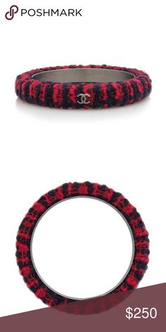 """Authentic Chanel Tweed Bangle Bracelet Black and red tweed bangle, silver CC logos, like new condition, box not included, bought from Bag Borrow or Steal  Circa: 2013 Type of Material: Brushed silver-tone metal, Tweed Color: Black, Red Origin: Italy Width: 0.5"""" Diameter: 2.75"""" Inner Circumference: 8"""" CHANEL Jewelry Bracelets"""