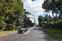In automobile lungo l'Appia.