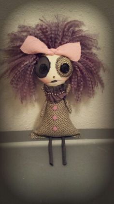 she believes she used to be alot of fun .until her hormones made her crazy. :) **Courtney is 10 and a half inches tall when sitting. she is made of new cotton materials, and stuffed with new poly fill. Doll Crafts, Diy Doll, Sewing Crafts, Zombie Dolls, Voodoo Dolls, Creepy Toys, Ugly Dolls, Monster Dolls, Gothic Dolls