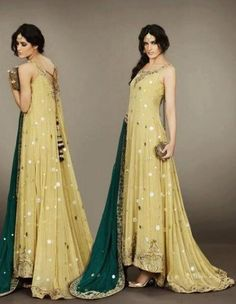 Pakistani indian chiffon light yellow long tail embroided shalwar anarkali dull green dupatta.  Reminds me of a Klimt painting