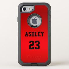 #black - #Sports Jersey Number and Name Red Personalized OtterBox Defender iPhone 8/7 Case