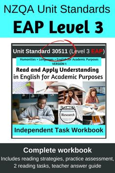 This is a complete workbook for Unit Standard 30511 Read and Apply Understanding in English for Academic Purposes. It includes a guide to reading strategies and a formative assessment task to test students' reading skills fitness, a practice assessment, both reading activities and a teacher answer guide. This workbook takes students through the complete unit standard, scaffolding them to achieve. Share with students online, or print to provide hardcopy. Completely editable!! Literacy Strategies, Reading Strategies, Reading Activities, Reading Skills, Student Reading, Student Work, Research Question, Formative Assessment, Scaffolding