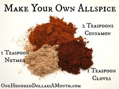 Easy Kitchen Tips - Allspice Substitute Recipe - One Hundred Dollars a Month Homemade Spices, Homemade Seasonings, Spice Blends, Spice Mixes, Guacamole, Cooking Tips, Cooking Recipes, Smoker Recipes, Rib Recipes
