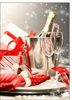 Carte Repas de fête pour envoyer par La Poste, sur Merci-Facteur ! Toute l'équipe de Merci-Facteur.com vous souhaite un très bon réveillon de Noël à toutes et à tous ! #noel #réveillon #champagnes