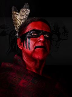 Native Cherokee heritage portrait in traditional war paint colours. Native American Face Paint, Native American Cherokee, Native American Pictures, Native American Beauty, Native American Tribes, Native American History, Indian Pictures, Cherokee History, Cherokee Nation