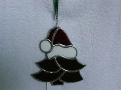Christmas Tree with Santa Hat Ornament Stained Glass Suncatcher