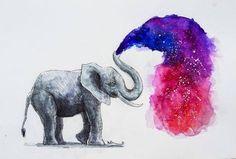 Watercolor elephant watercolor elephant with heart shaped balloons Galaxy Painting, Galaxy Art, Watercolor Galaxy, Tattoo Watercolor, Love Art, Cool Drawings, Painting & Drawing, Amazing Art, Watercolor Paintings