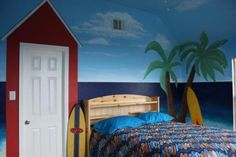 Surf bedroom - I think I could convert this idea to a beach cottage theme as well!