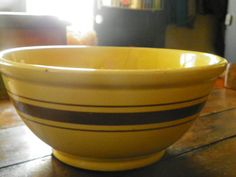 Large 13 Antique Yellow Ware Bowl by LisasPiecesNMore on Etsy, $65.00