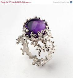 HOLIDAY SALE  CORAL Purple Amethyst Ring Sterling by AroshaTaglia