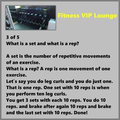 https://flic.kr/p/Vb7ts4 | 3 of 5 What is a set and what is a rep? | A set is the number of repetitive movements of an exercise. What is a rep? A rep is one movement of one exercise. Let´s say you do leg curls and you do just one.  That is one rep. One set with 10 reps is when you perform ten leg curls. You get 3 sets with each 10 reps. You do 10  reps. and brake after again 10 reps and brake and the last set with 10 reps. Done!