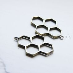 4pcs Antique Brass Tone Base Metal Charms - Honeycomb 37x24mm (312C-Q-174)