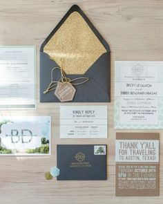 Invitations were colored with mint green, gold, and gray. See more images from this modern DIY Wedding in Austin online!