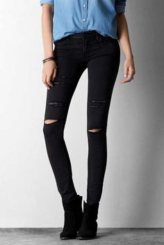 AEO Destroyed Jegging in Black Vintage Wash. The look & feel of timeworn, tried & true denim. #AEOSTYLE