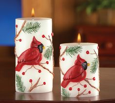 2 Pillar Candles Ivory Unscented Paraffin Wax Cardinal Pine Branches Berries