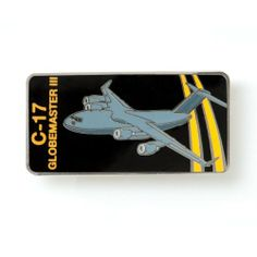 "C-17 Sky Ribbon Pin by Manufactured for Boeing. $1.99. This colorful, shiny enamel pin is a great way to honor your favorite Boeing jetliner. Butterfly clasp backing. Measures approximately 1"" x 1. Imported.. Save 50% Off!"