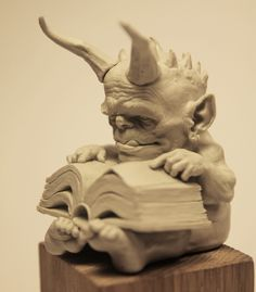 Small demon looking at a chemical recipe ! Gothic Gargoyles, Dragons, Fairy Drawings, Witch Art, Fantasy Miniatures, Sculpture Clay, Horror Art, Surreal Art, Comic Art