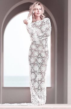 Exclusive Crochet Dress Wedding Dress Long sleeve Dress Open