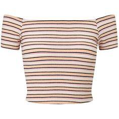 Miss Selfridge Petites Multi Stripe Top , Pink ($12) ❤ liked on Polyvore featuring tops, crop tops, shirts, blusas, pink, petite, long-sleeve crop tops, short-sleeve shirt, petite tops and print crop tops