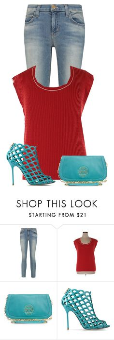 """""""Untitled #22855"""" by nanette-253 ❤ liked on Polyvore featuring Current/Elliott, Lands' End, Tory Burch and Sergio Rossi"""