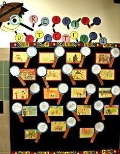 Reading Detective library bulletin board - draw a picture of a scene from their favorite book, in the magnifying glass write a summary